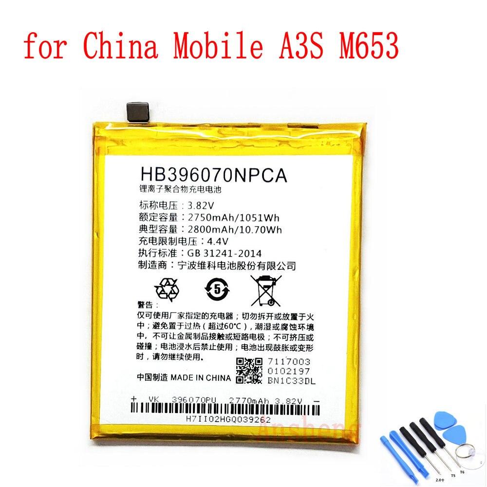 100% NEW Original 2800mAh HB396070NPCA battery for China Mobile A3S M653 Mobile Phone