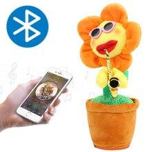 Electric Sunflower Stuffed Plush Doll 72 songs Bluetooth USB Saxophone Dancing Singing Sunflower Toys Stuffed Plush Toy  for Kid