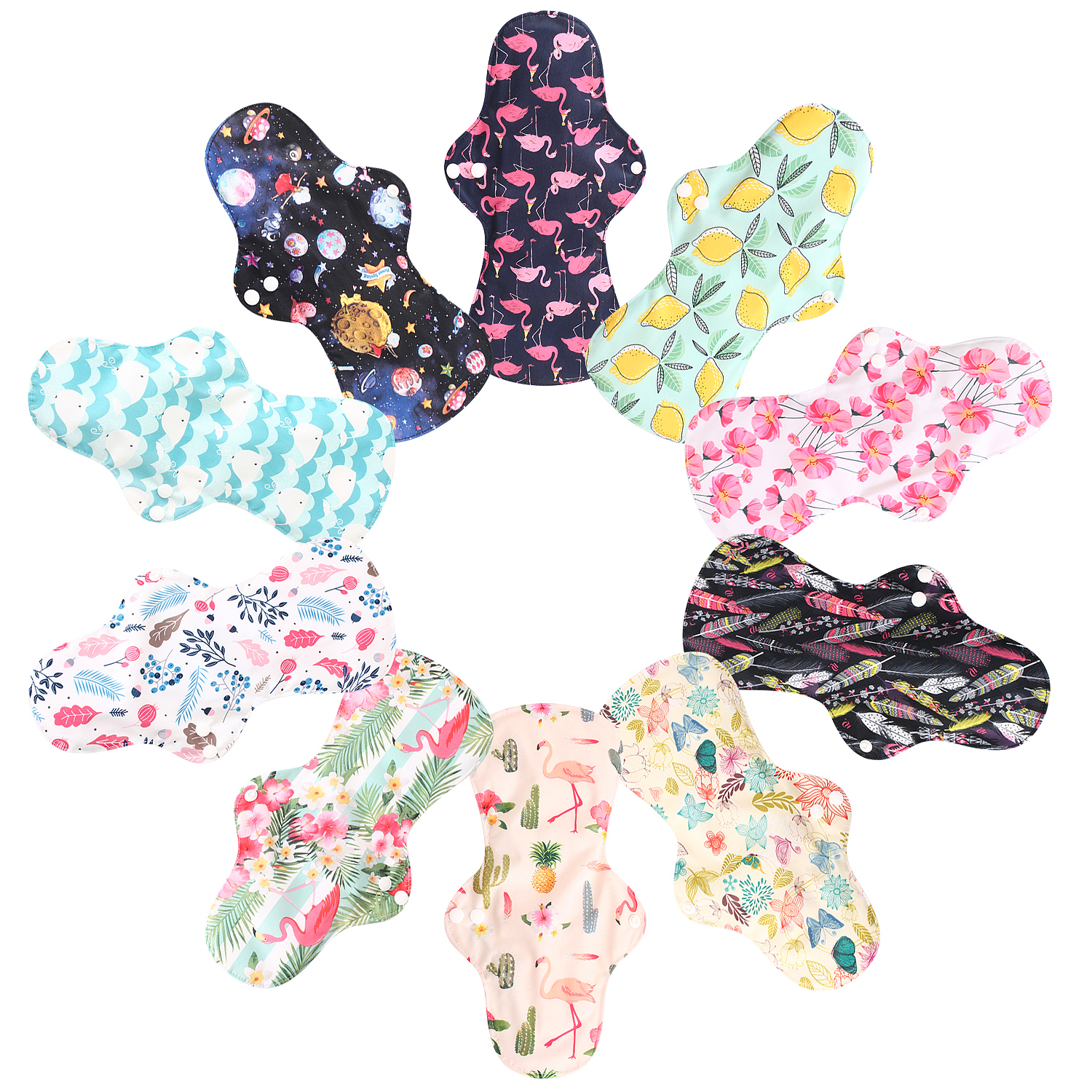 Heavy Night Use Reusable Cloth Menstrual Pad Sanitary Napkin Washable Sanitary Pads Organic Bamboo Lining Waterproof PUL Outer