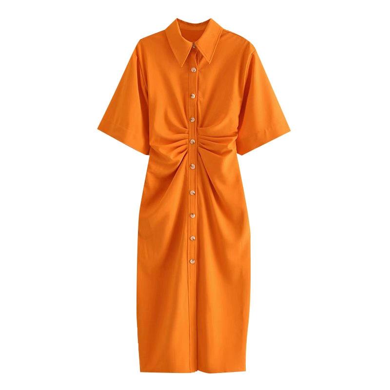 TRAF Women Chic Fashion Button-up Draped Midi Shirt Dress Vintage Short Sleeve Side Zipper Female Dresses Vestidos 7