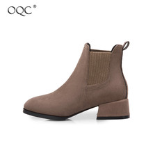 Купить с кэшбэком OQC Women's Thick Heel Low Tube Suede Short Boots Spring Autumn Ladies Pointed Toe Casual Solid Color Wild Style Ankle Boots D25