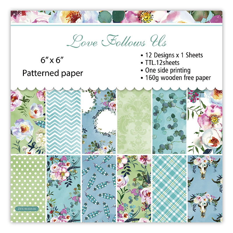 Бумага для скрапбукинга Love Flower, 24 листа, художественная бумага для фона, бумага для рукоделия, принадлежности для скрапбукинга