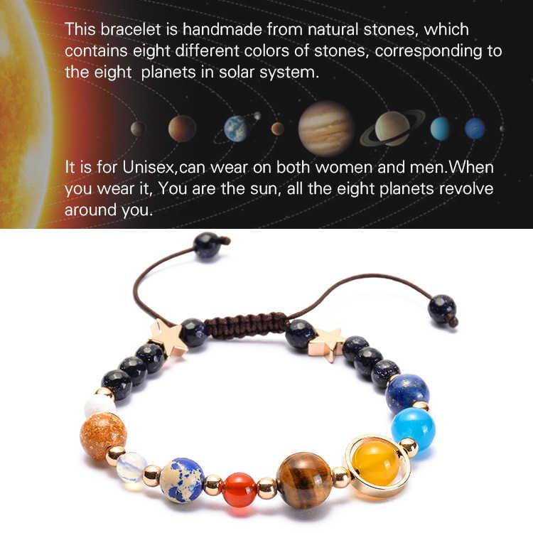 จักรวาล Galaxy แปดดาวเคราะห์ระบบพลังงานแสงอาทิตย์ Guardian Star ลูกปัดหินธรรมชาติสร้อยข้อมือกำไลข้อมือสำหรับผู้หญิง Drop Shipping