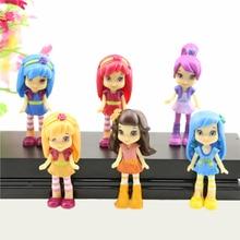 6pcs/set New Fashion Polly Doll Strawberry Shortcake Berryfest Princess Doll Action Figure Cake Micro Kids Toy Party Decor Gift цена