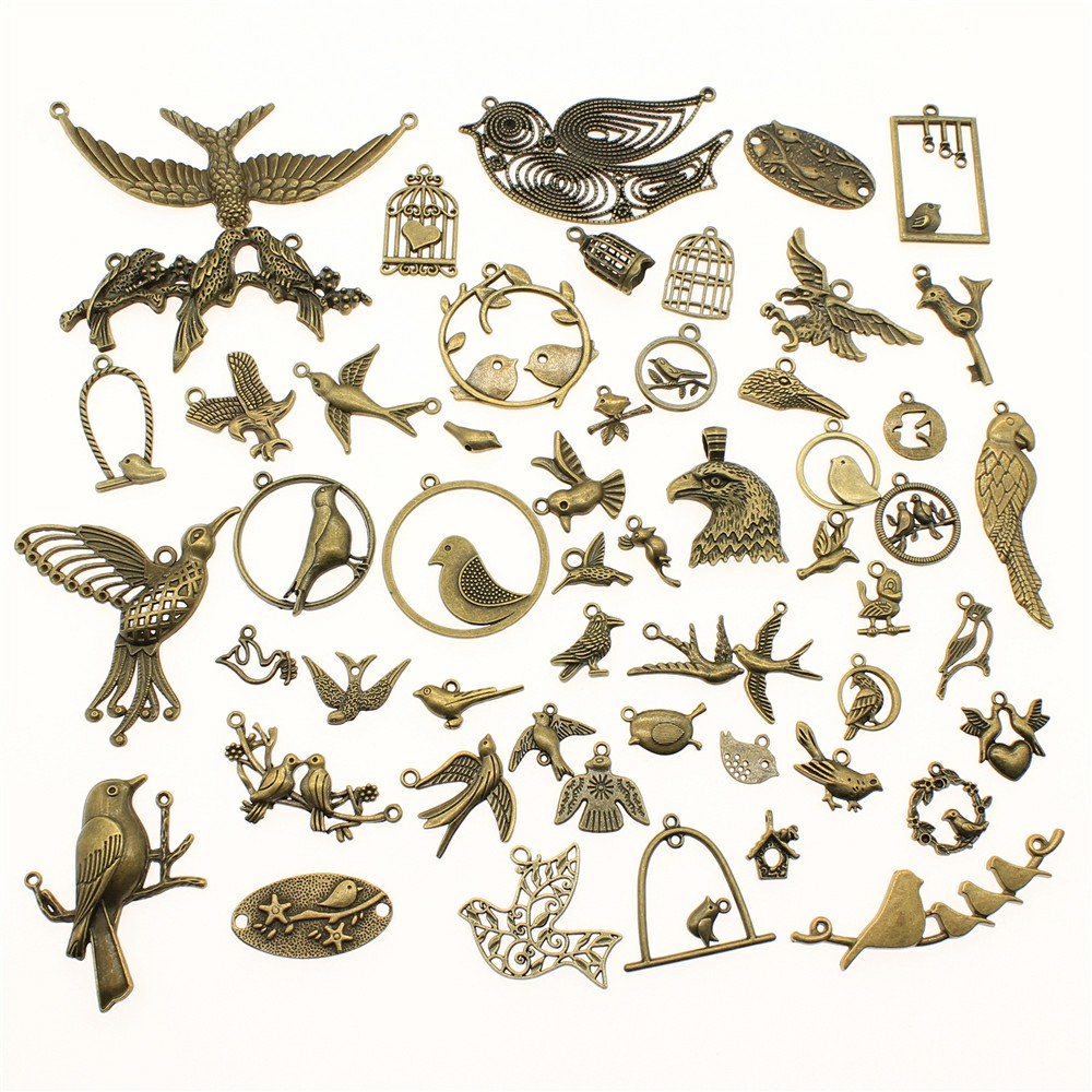 WYSIWYG 40 г античная бронза цвет цинковый сплав случайные смешанные стили чары птиц DIY Ручная работа для изготовления ювелирных изделий