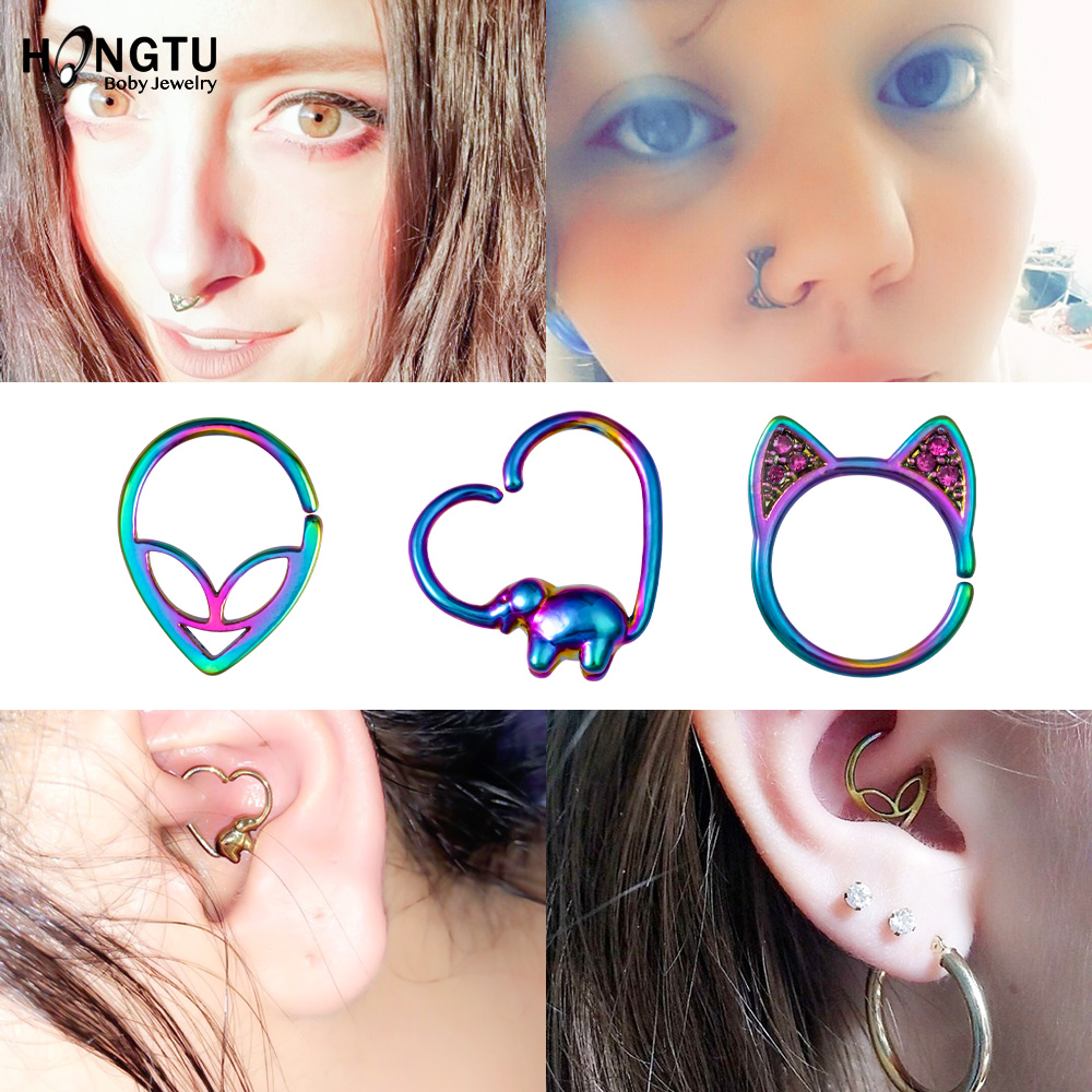 3pcs Set Copper Piercing Ring Hoop Cute Cat Elephant Alien