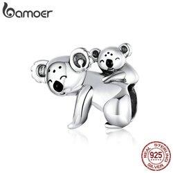 Bamoer Koala Baby En Mama Metalen Kralen Voor Vrouwen Sieraden Maken 925 Sterling Zilver Australië Bescherm Animal Zilver Charm BSC260