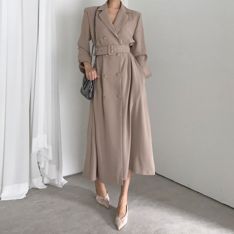 Women Double Breasted Slim   Trench   Coat Sashes Female Winter Office Lady Solid Long   Trench