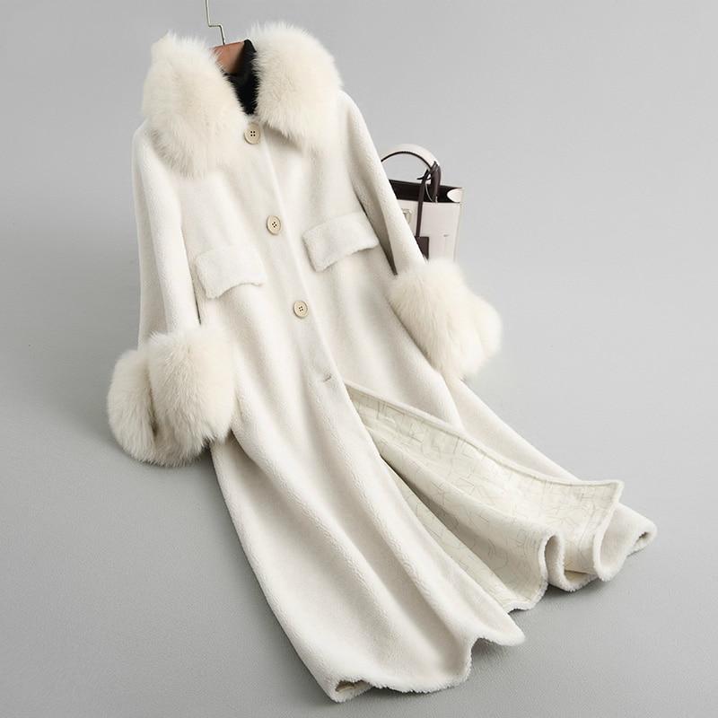 Sheep Women Shearing Coats Real Wool Fur Coat Female Long Warm Winter Jacket Natural Fox Fur Collar Outwear 2020 18120