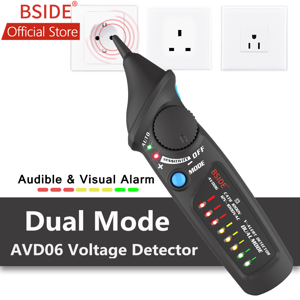 BSIDE AVD06 Dual Mode Non-contact Voltage Detector AC 12-1000V Auto/Manual NCV Tester Live Wire Check Sensitivity Adjustable