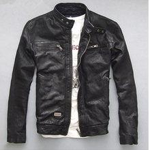 High quality Spring Autumn Men's Genuine Leather Jacket Short Slim Motocycle