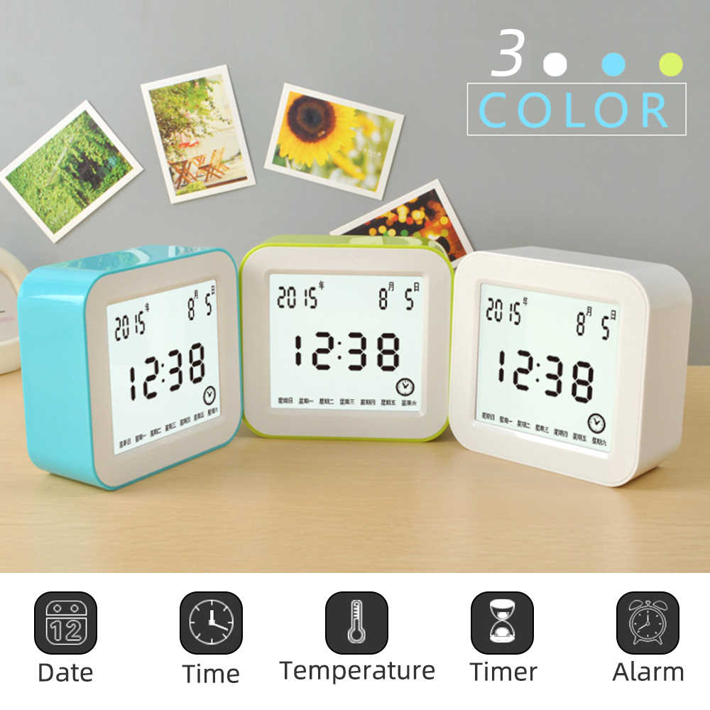 Cermin Digital LED Display Alarm Clock Suhu Kalender USB/AAA Didukung Elektronik Multifungsi Tunda Jam Meja