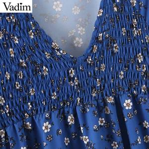 Image 4 - Vadim women floral print midi dress V neck long sleeve elastic pleated female casual stylish blue dresses vestidos QD131