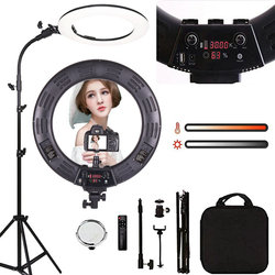 18 дюймов кольцевой светильник светодиодный видео светильник с регулируемой яркостью, 3000-6000K лампа для фотосъемки со штативом Красота свети...