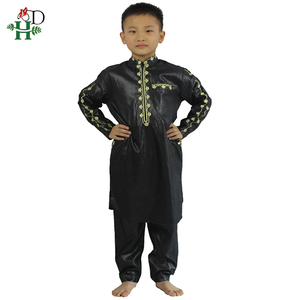 Image 3 - H&D African Clothes For Kids Boys Embroidery Dashiki Bazin Child Shirt Pants Suit Robes Ensemble Fashion Children Jalabiya Z2804