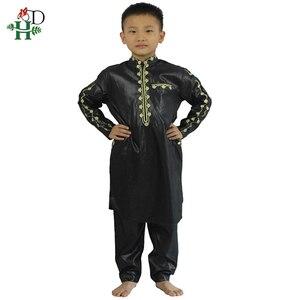 Image 3 - H & D Afrikaanse Kleding Voor Kinderen Jongens Borduren Dashiki Bazin Kind Overhemd Broek Pak Gewaden Ensemble Mode Kinderen Jalabiya z2804