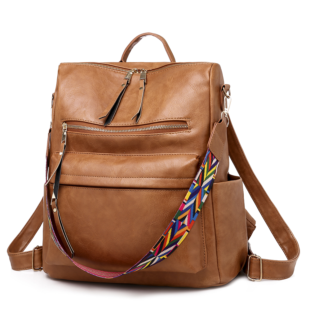 New Multifunctional Women Backpack High Quality Vintage PU Leather Large Capacity Fashion Back Pack Leisure Travel Bagpack Brown