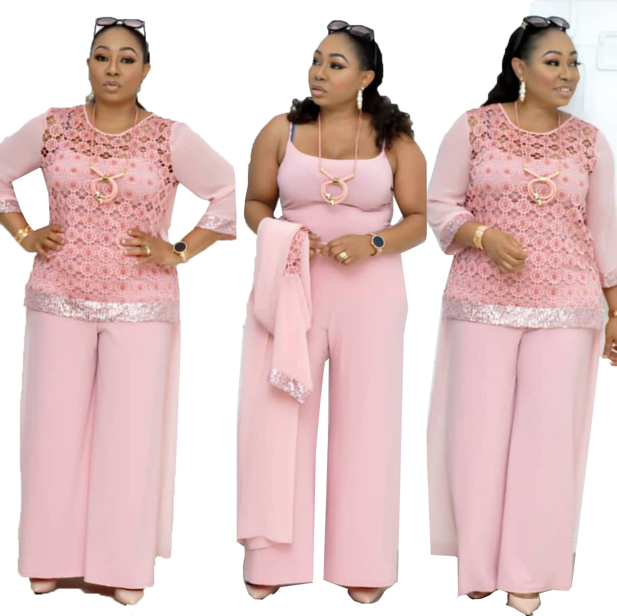 2019 Autumn Elegent Polyester African Women Plus Size Two Pieces Sets Top And Jumpsuit L-3XL
