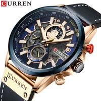 CURREN Mens Watches Fashion Leather Sport Quartz Watch Men Top Brand Luxury Waterproof Military Chronograph Relogio Masculino
