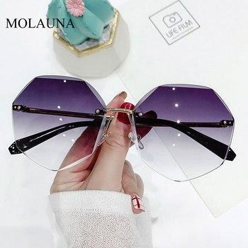2021 Rimless Sunglasses Women Brand Designer Sun Glasses Gradient Shades Cutting Lens Ladies Frameless Metal Eyeglasses UV400