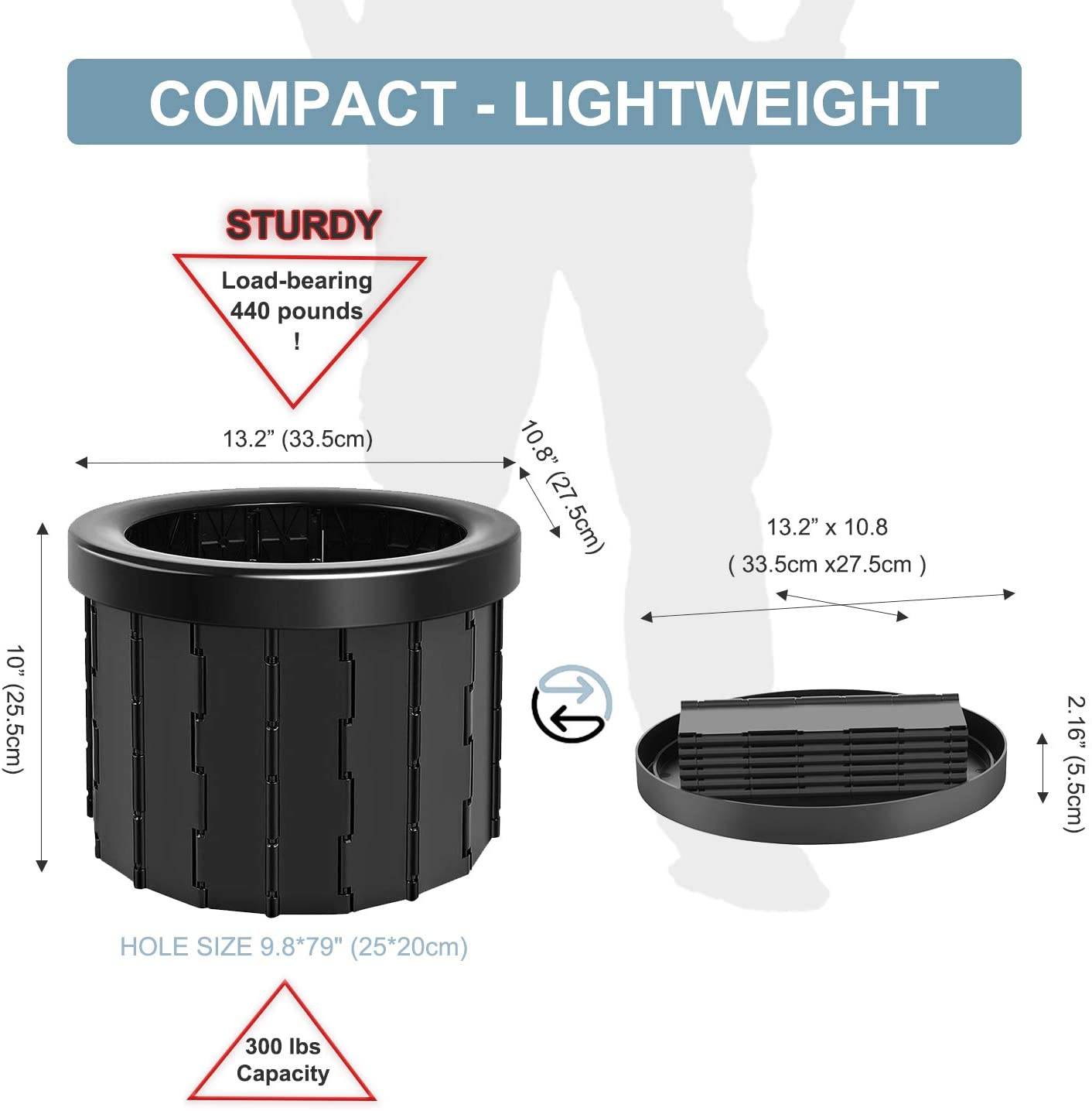 Portable Folding Toilet Commode Porta Potty Car Toilet Camping Toilet for Travel Bucket Toilet Seat for Camping Hiking Long trip 5