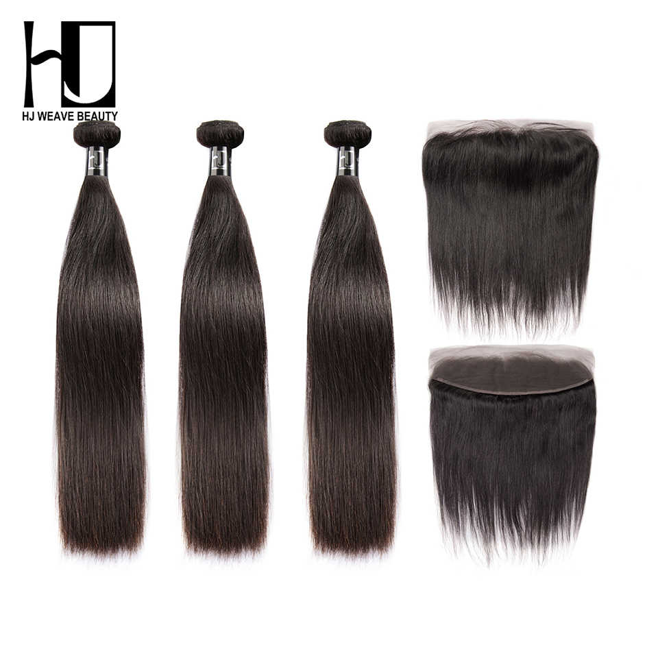 HJ WEAVE BEAUTY 8A Virgin Hair Frontal With Bundles Brazilian Hair Weave Bundles Straight 13*4 Frontal Human Hair Free Shipping