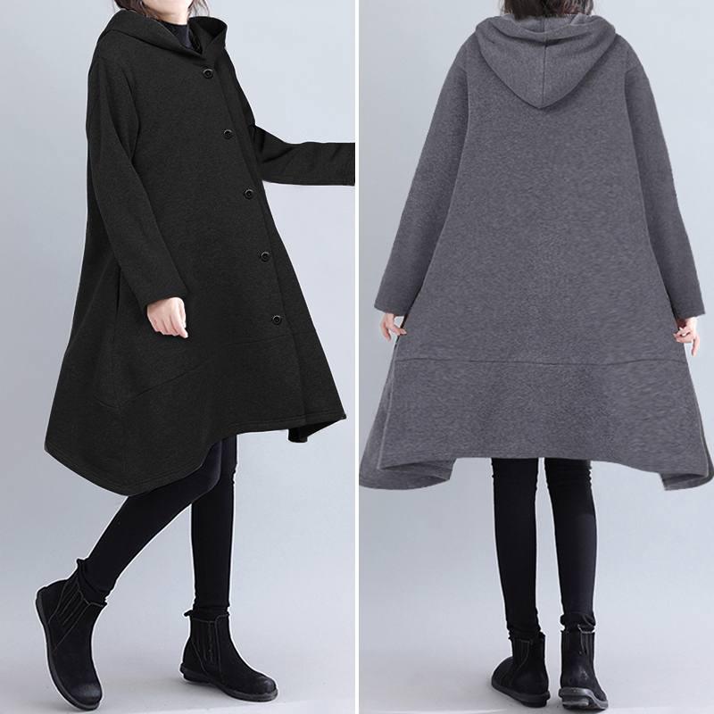 Women Hoodies Casual Loose Sweatshirts 2020 ZANZEA Ladies Solid Pockets Hooded Long Sleeve Outwear Female Hoody Sweatshirt 5XL 7