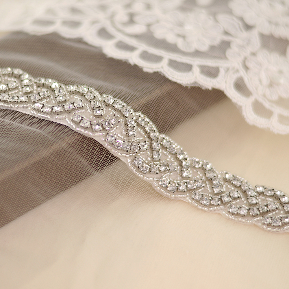 TRiXY S216-S Sparkly Silver Diamond Belt Bridal Belt Bridesmaid Belt for Wedding Dress Belt Bling Diamonds Belt Bridal Belt Sash