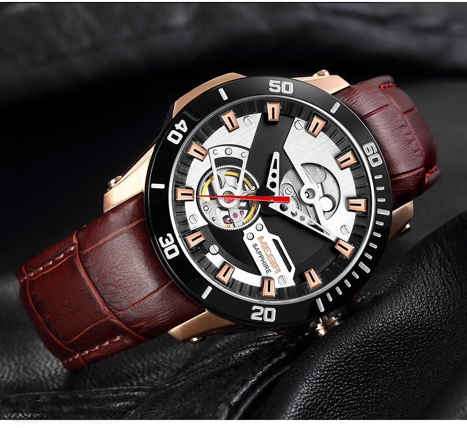 Hdd555948e13542278103dabc46ba56baJ MEGIR Men Mechanical Wristwatches Leather Strap Automatic Mechanical