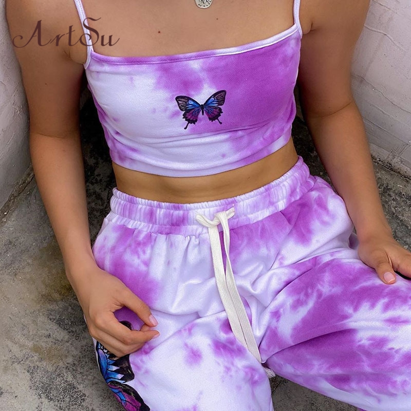 Artsu Butterfly Tie Dye Print Sport Pants Sweatpants Women Casual Loose High Waist Track Pants Capris Outfits Long Trousers Hot