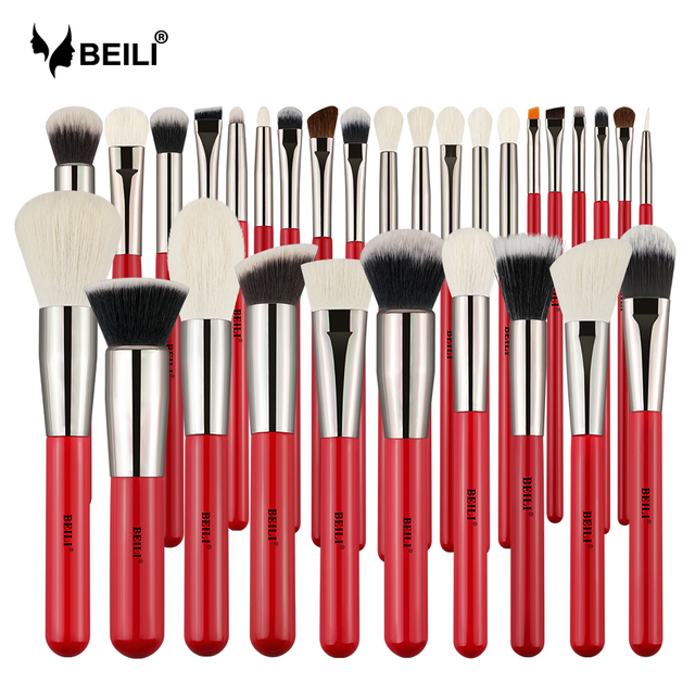 BEILI Red Professional Natural Hair Makeup Brushes Set Powder Foundation Blusher Eye Shadow Eyebrow Lip Eyeliner Contour