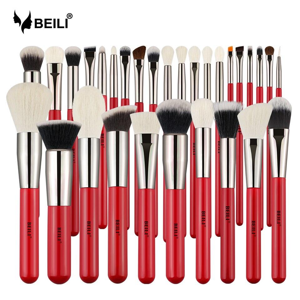 BEILI Rot Professionelle Natürliche Haar Make-Up Pinsel Set Powder Foundation Rouge Lidschatten Augenbraue Lip Eyeliner Kontur