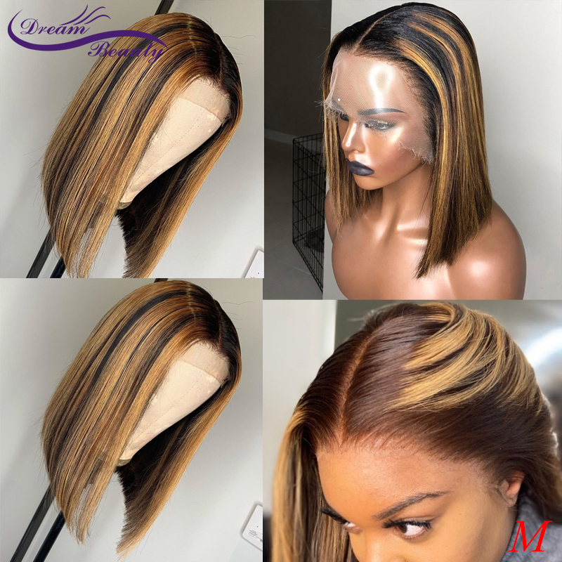 13x6 Lace Front Short Bob Straight Wigs 180% Brazilian Remy Hair Ombre Highlight Color Lace Front Human Hair Wigs Dream Beauty