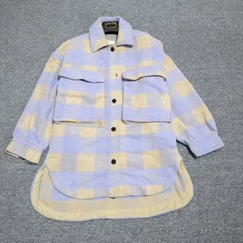 Autumn Winter Oversize Women Vintage Plaid Wool Shirts Jackets Coat Chic Pockets Loose Outwear Tops Streetwear Overcoats Female 2