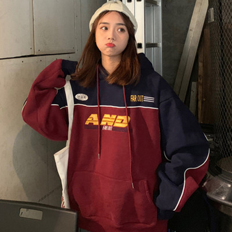 Clothes Female Winter Long-sleeved Sweatshirt Harajuku Loose Hooded Sweatshirt Letter Head Lazy Wind Retro Oversized Sweatshirt