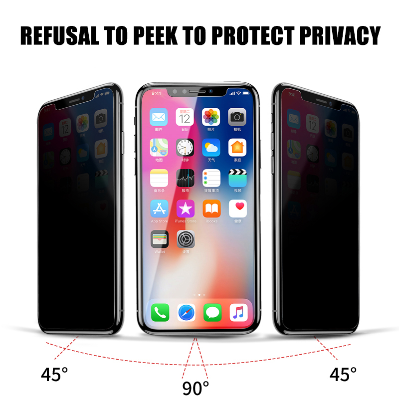 Anti Spy Tempered Glass For iPhone X XR XS 11 Pro Max Privacy Screen Protector For iPhone 8 7 6 6S Plus 5 5S SE Protection Glass 3