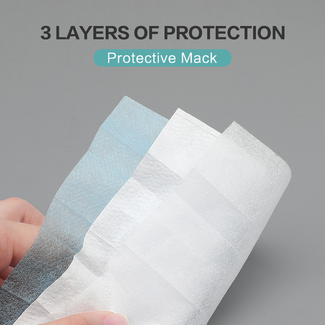 50/100pcs Face Masks Disposable Nose Protective Mouth Masks 3 Layers Anti Dust Flu PM 2.5  Non Woven Nose protective Masks 3