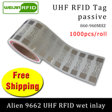 Alien 9662 1000pcs per roll UHF RFID  wet inlay 860-960MHZ Higgs3 915M EPC C1G2 ISO18000-6C,can be used to RFID tag and label uhf rfid tag heat and water resisting epc 6c 915mhz868mhz860 960mhz h3 20pcs free shipping smart passive pps rfid laundry button