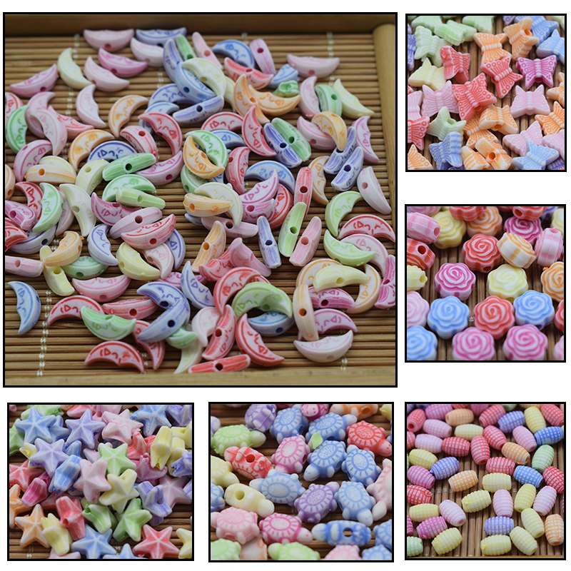 100pcs Beads DIY Children's Toys Girl's Gifts Wear Beads Bracelet Necklace Straight Hole Beads Jewelry Beaded Toys