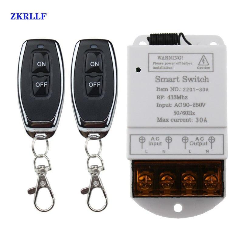 433 МГц беспроводной дистанционный переключатель AC 110 В/120 В/240 В/30A 1CH реле RF светильник дистанционного управления Переключатели для систем бе...