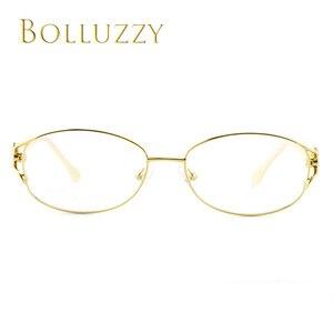 Image 2 - נשים של תואר משקפיים מסגרת עם יהלומים ריינסטון זהב חלול החוצה אופטי משקפיים מסגרת עם פרח עבור נשים 2399