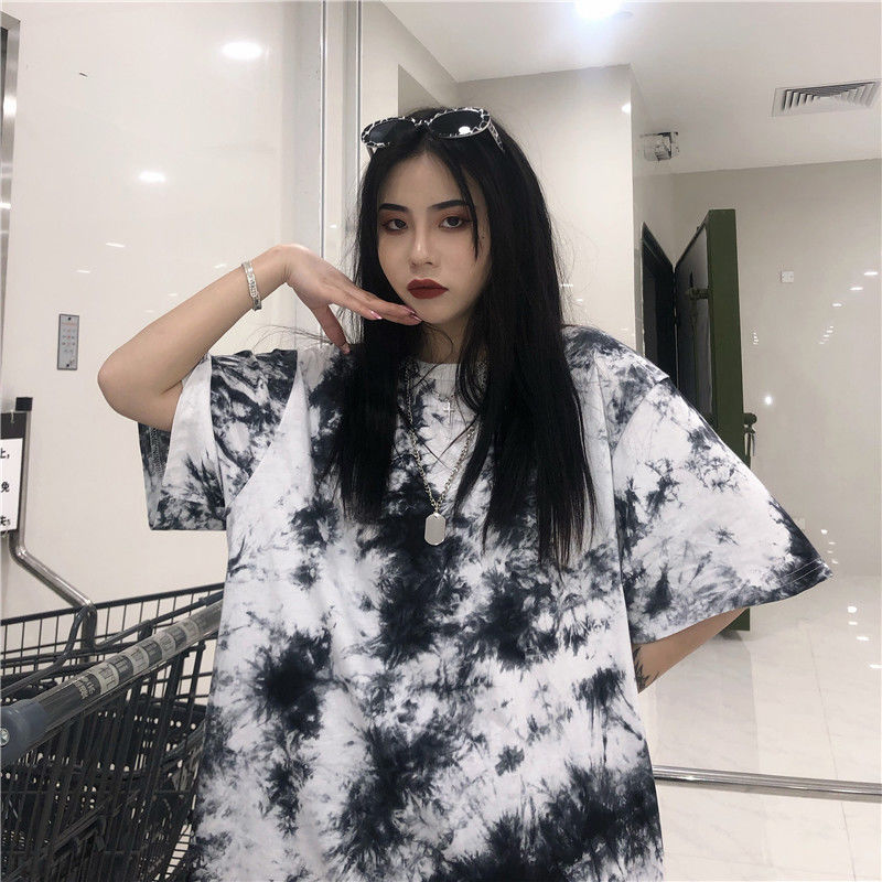 NiceMix Harajuku Tie Dye T Shirt Women Print Female Tops Tees O-neck Hiphop Streetwear Short Sleeve Fitness Tshirts Dropshipping