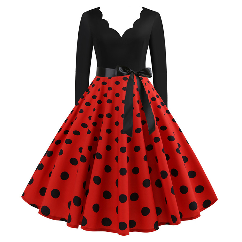 Women Long Sleeve Winter Vintage Dresses Sexy Black Music Note Print V-neck Rockabilly Pin up Party Dress Vestidos Plus size 569