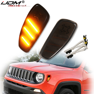 Image 1 - iJDM Smoked Lens Amber LED Bulb Front Side Marker Light Kit For 2015 up Jeep Renegade, Replace OEM Amber Sidemarker Lamps 12V