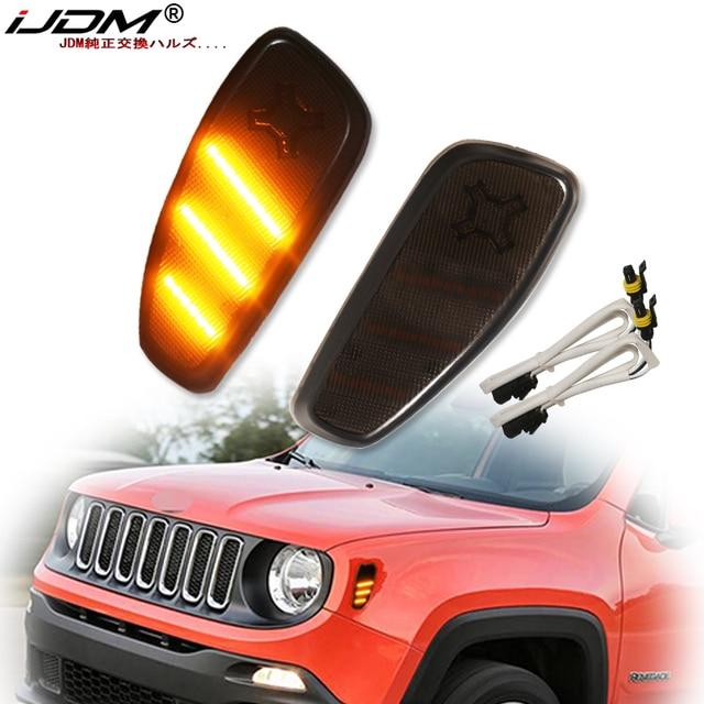 iJDM Smoked Lens Amber LED Bulb Front Side Marker Light Kit For 2015 up Jeep Renegade, Replace OEM Amber Sidemarker Lamps 12V