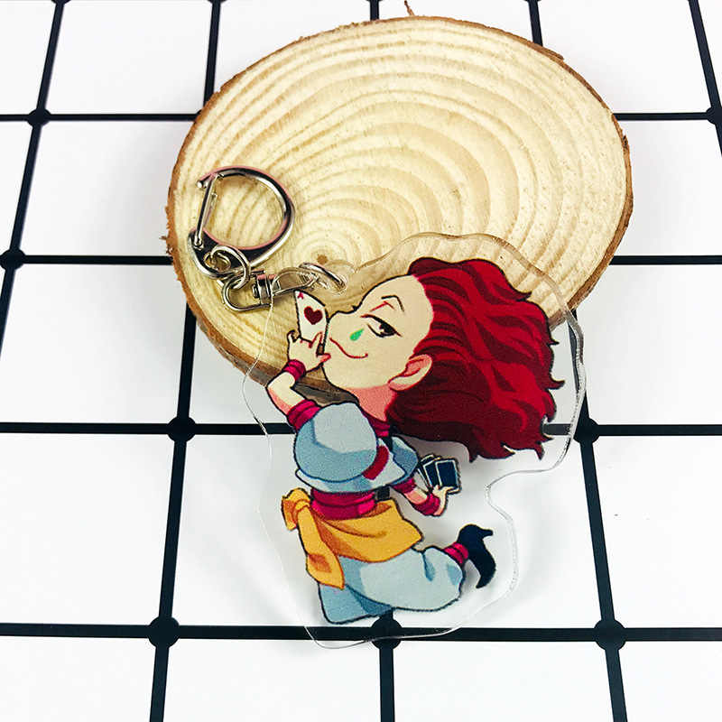1 adet HUNTER x HUNTER Anime Killua Zoldyck Kurapika anahtar zincirleri iki taraflı anahtarlık Cosplay aksiyon figürü akrilik kolye anahtarlık