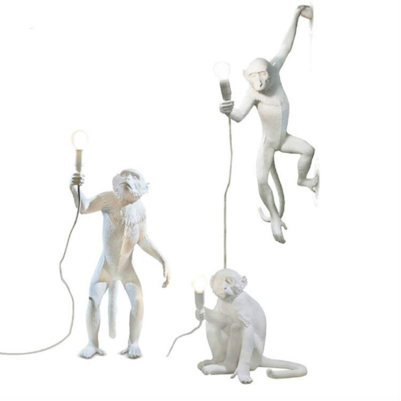 LED Pendant Light Resin White Monkey Hallway Pendant Lamp Studyroom Bar Cafe Industrial Decor Lighting Fixtures  WJ121617