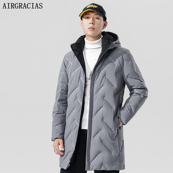 AIRGRACIAS 2019 New Winter Men's Down Jacket Fashion Winter Jackets Male White Duck Down Outerwear Brand Clothing children s winter warm down jacket suit hooded 2 piece set girls clothing brand 1 3y baby boy fashion white duck down jacket set