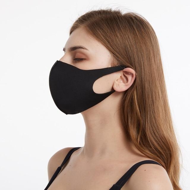 10/20/50pcs Black Cotton Face Mouth Mask Cover Anti Haze Dustproof Washable Reusable Women Men Adult Mouth Masks Mascarilla 2