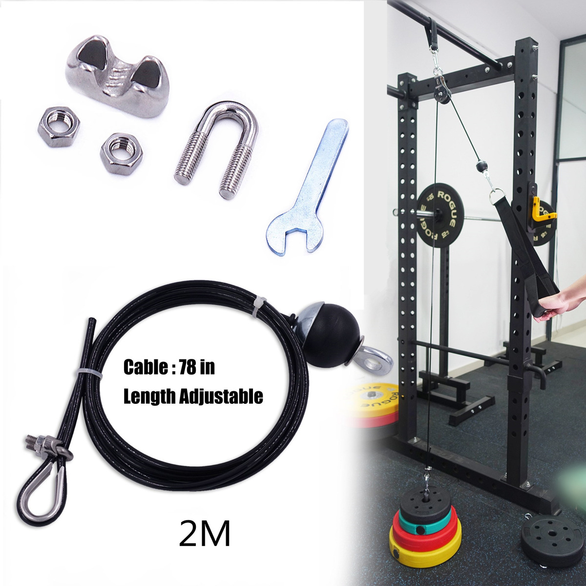Galleria fotografica 2M Gym Cable Fitness Pulley Length Adjustable Heavy Duty Steel Wire Rope Thick 5mm for Home Gym Cable Machin Workout Accessories